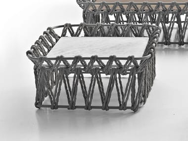 Square Carrara marble garden side table BUTTERFLY   Square coffee table