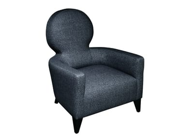 Upholstered fabric armchair with headrest HEROLD
