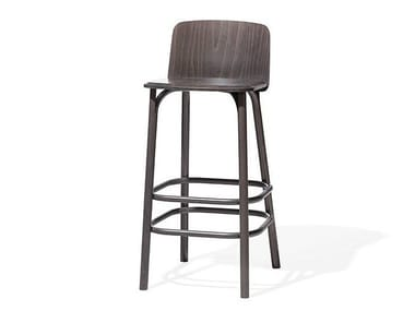 Wooden stool with back SPLIT | Wooden stool