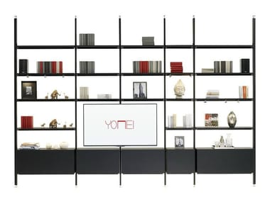 Open bookcase with TV stand MAGIC MATRIX | Bookcase with TV stand