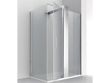 Corner crystal shower cabin with column KUBIK PLUS AN+F1