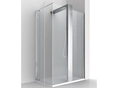 Corner crystal shower cabin with column KUBIK PLUS W+P