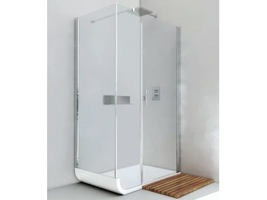 Corner shower cabin with hinged door CURVE AN + F2