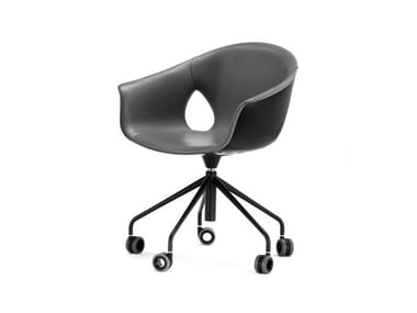 Leather chair with 5-spoke base with castors GINGER ALE | Chair with castors
