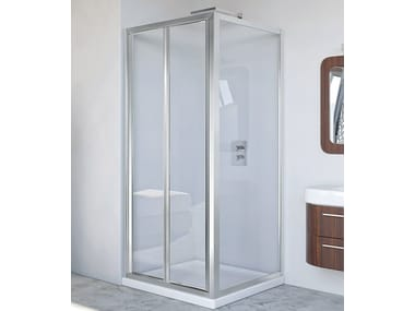Corner glass and aluminium shower cabin with folding door NEW LYRA PS + F