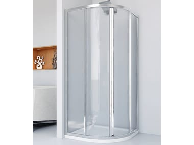 Semicircular crystal shower cabin with sliding door NEW LYRA R2