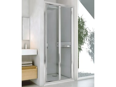 Niche glass and aluminium shower cabin with folding door NEW LYRA PS