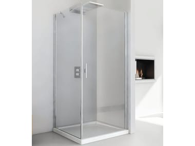 Corner crystal shower cabin with hinged door LIGHT AB + F3
