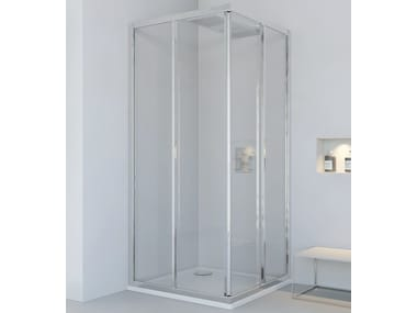 Corner glass and aluminium shower cabin with sliding door NEW LYRA A