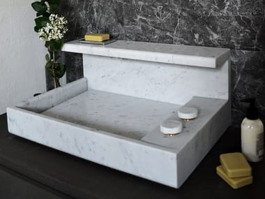 Countertop rectangular Carrara marble washbasin JP | Carrara marble washbasin