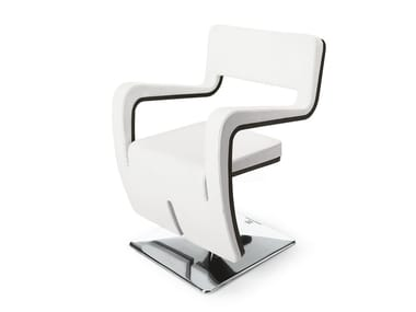Swivel upholstered chair with armrests WAVE