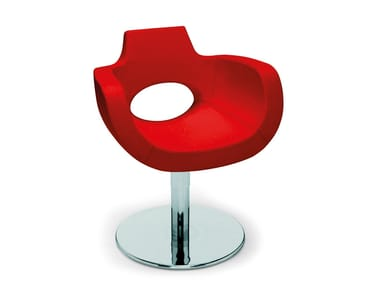 Swivel upholstered chair with armrests HALO