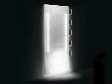 Wall-mounted plexiglass display unit with light LUMI