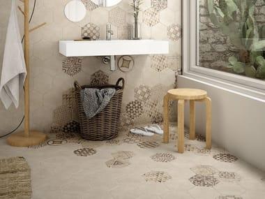 Indoor/outdoor wall/floor tiles with concrete effect HEXATILE CEMENT