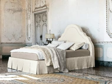 Fabric double bed with removable cover CELINE WITH SKIRT