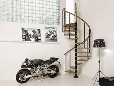 Steel and wood Spiral staircase PIXIMA RING LINE