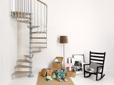 Square steel and wood Spiral staircase in kit form PIXIMA CUBE