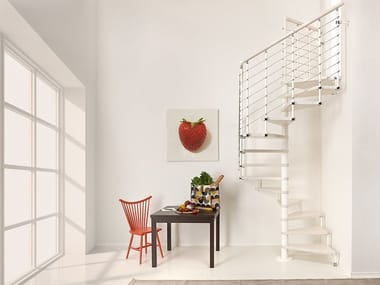 Square steel and wood Spiral staircase PIXIMA CUBE LINE