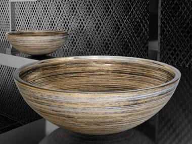 Countertop round glass washbasin GRAFFITI Ø 40