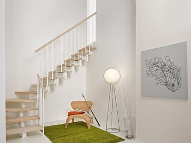 L-shaped steel and wood Open staircase LONG