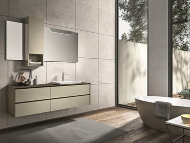 Lacquered wall-mounted vanity unit with drawers GIUNONE 357