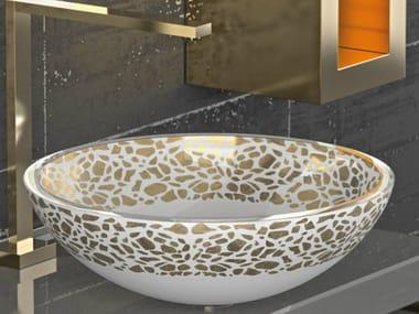 Countertop round glass washbasin FLARE Ø 44