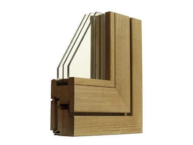 Wooden flush-with-wall window VERDI