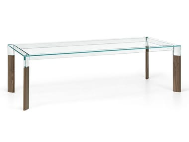 Rectangular wood and glass dining table PERSEO