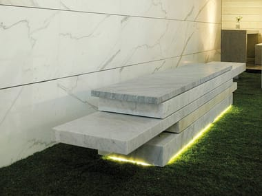 Backless marble bench seating SLIDE 01