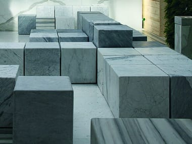 Modular backless marble bench seating CUBE