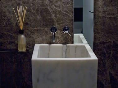 Freestanding single marble washbasin BLOCK