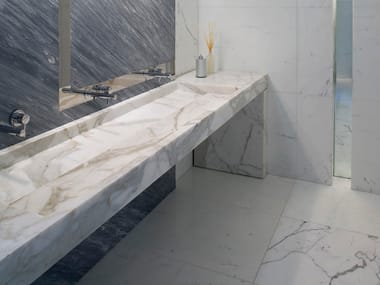 Rectangular marble washbasin with integrated countertop ORIZZONTE