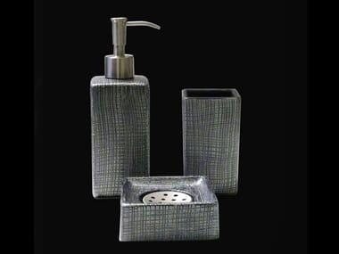 Countertop glass toothbrush holder VENICE SET BLACK/SILVER