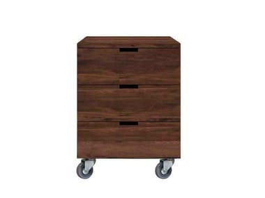 Walnut Office Drawer Unit With Casters BILLY
