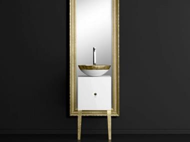 Single wooden vanity unit with mirror MONNALISA CLASS FILIGRANA WHITE/GOLD