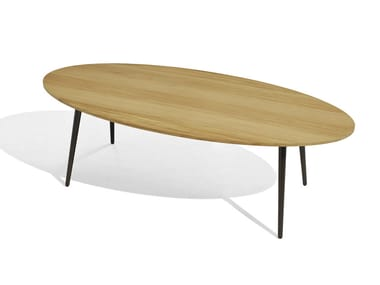 Low oval iroko garden side table VINT | Oval coffee table