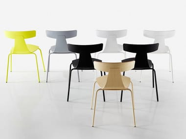 Stackable plywood chair REMO METAL