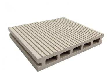 WPC outdoor floor tiles / decking Hollow Profile White