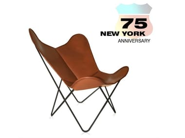 Tanned leather armchair HARDOY BUTTERFLY CHAIR 75TH ANNIVERSARY