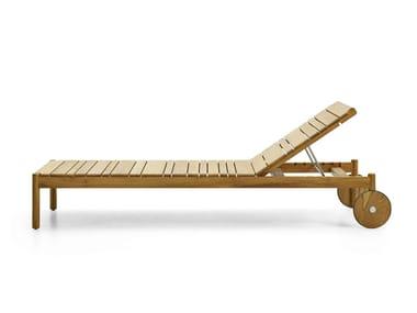 Lettino da giardino reclinabile in teak con ruote BARCODE | Lettino da giardino con ruote