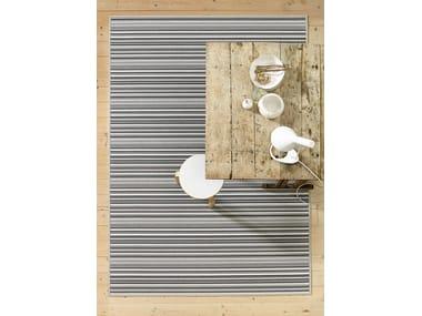 Rectangular striped paper yarn rug MIDSUMMER