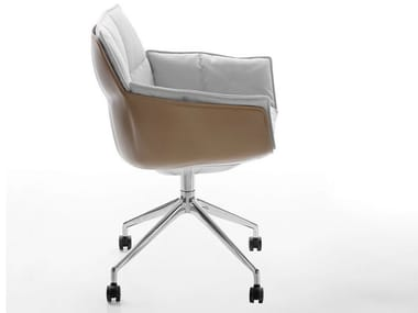 Upholstered fabric chair with armrests with castors HUSK | Chair with castors