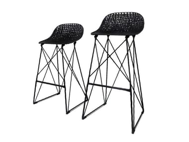 Sled base stool with footrest CARBON BAR STOOL