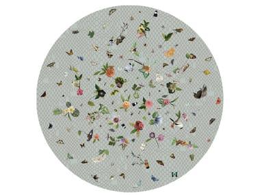 Round rug with floral pattern GARDEN OF EDEN LIGHT GREY