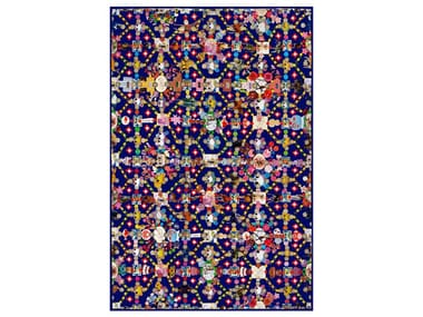 Patterned rectangular rug OBSESSION BLUE