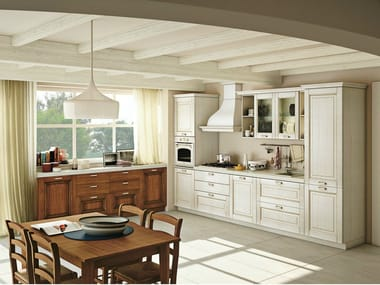 Linear solid wood fitted kitchen with handles OPRAH