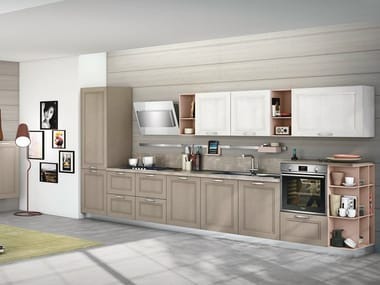 Linear ash fitted kitchen TAIMI