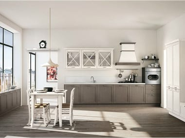 Linear fir fitted kitchen with handles VIVIAN