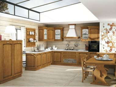 Linear solid wood fitted kitchen with handles MALIN