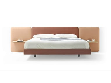 Fabric bed double bed with upholstered headboard LOTA
